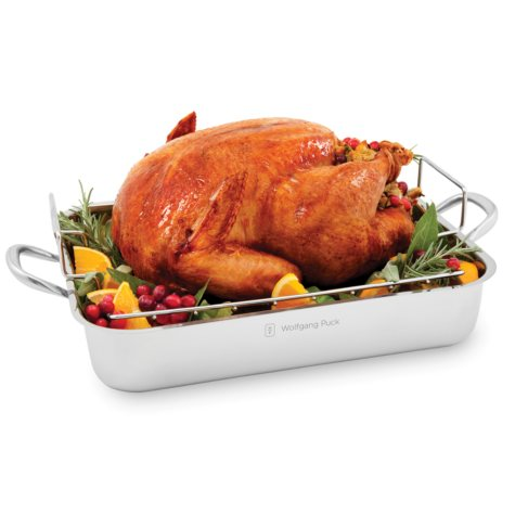 "Wolfgang Puck 16.5"" Stainless Steel Roaster and Rack"