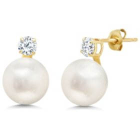 10mm Freshwater Pearl and White Topaz Stud Earrings in 14K Yellow Gold