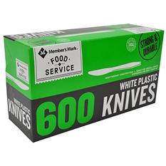 Member's Mark Plastic Knives, Heavyweight, White (600ct.)