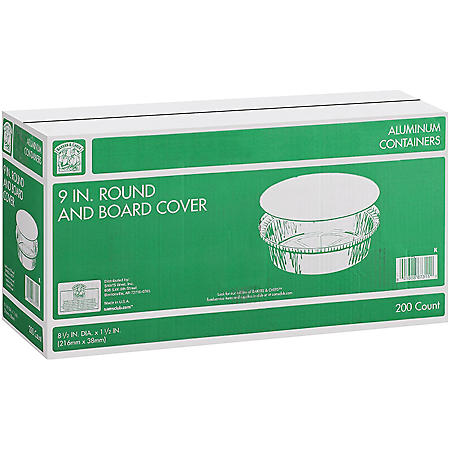 "Member's Mark 9"" Round Aluminum Containers with Lids (200 ct.)"