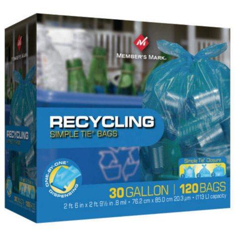 Member's Mark® Simple Tie® Recycling Bags - 30 gal - 120 ct.