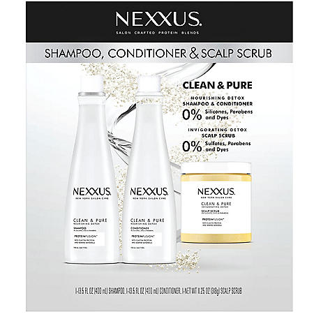 Nexxus Clean and Pure Shampoo, Conditioner and Scrub (3 pk.)