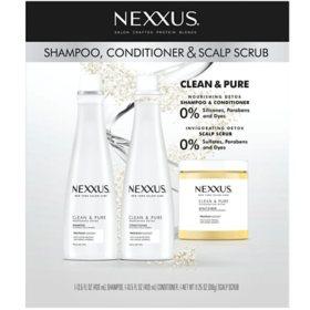 Nexxus Clean and Pure Shampoo, Conditioner and Scrub (3 pk.)