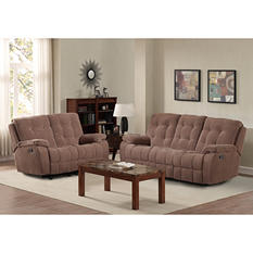 Reclining Sofa and Glider Loveseat Set (Assorted Colors)