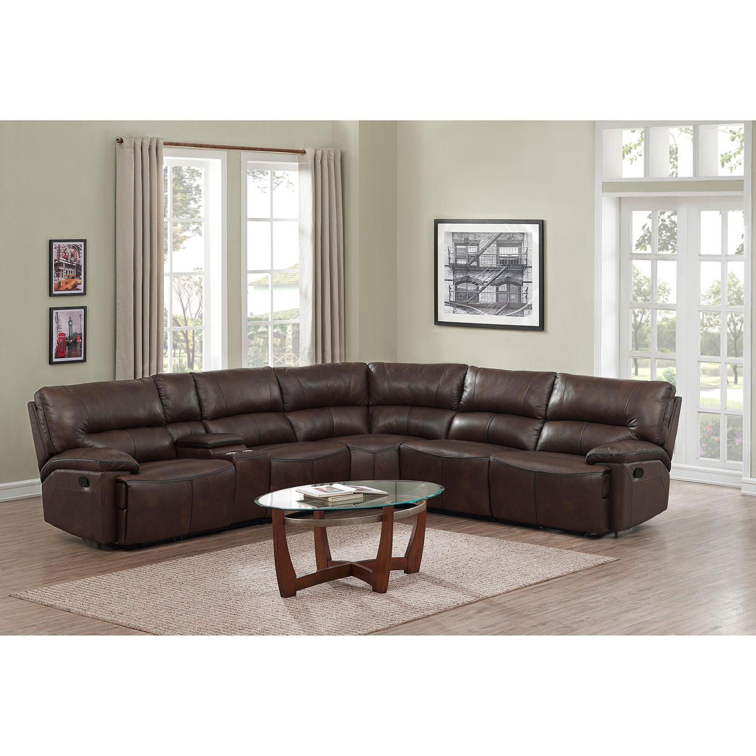 Burke 6-Piece Top-Grain Leather Reclining Sectional Sofa