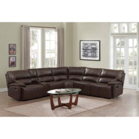 Burke 6 Piece Top Grain Leather Reclining Sectional Sam S Club