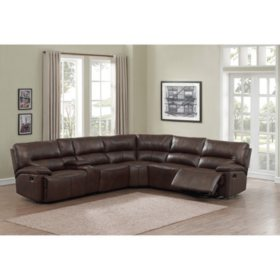 Magnificent Burke 6 Piece Top Grain Leather Reclining Sectional Sams Cjindustries Chair Design For Home Cjindustriesco