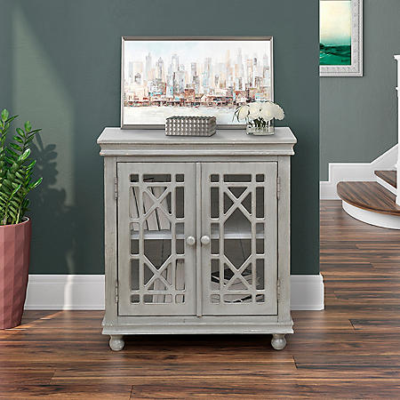 Halle Two-Door Traditional Accent Chest - Weathered Gray