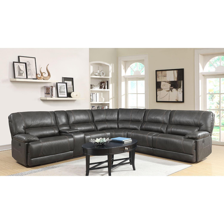 Karma Leather Power Sectional Sofa with USB Port