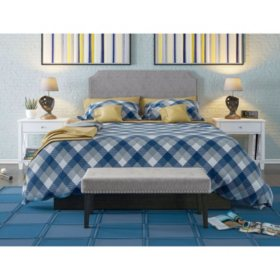 Tufted, Upholstered Full/Queen Headboard and Bench Set, Assorted Colors