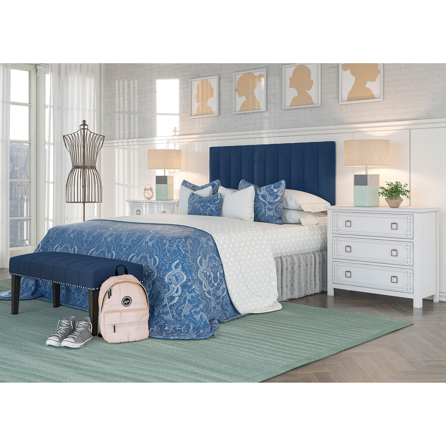 Home Meridian Upholstered Full/Queen Headboard and Bench Set (Assorted Colors)