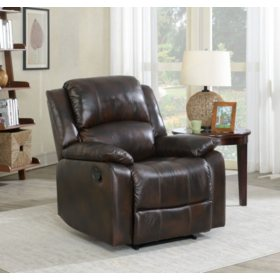 Fremont Top-Grain Leather Wall-Hugger Recliner, Brown