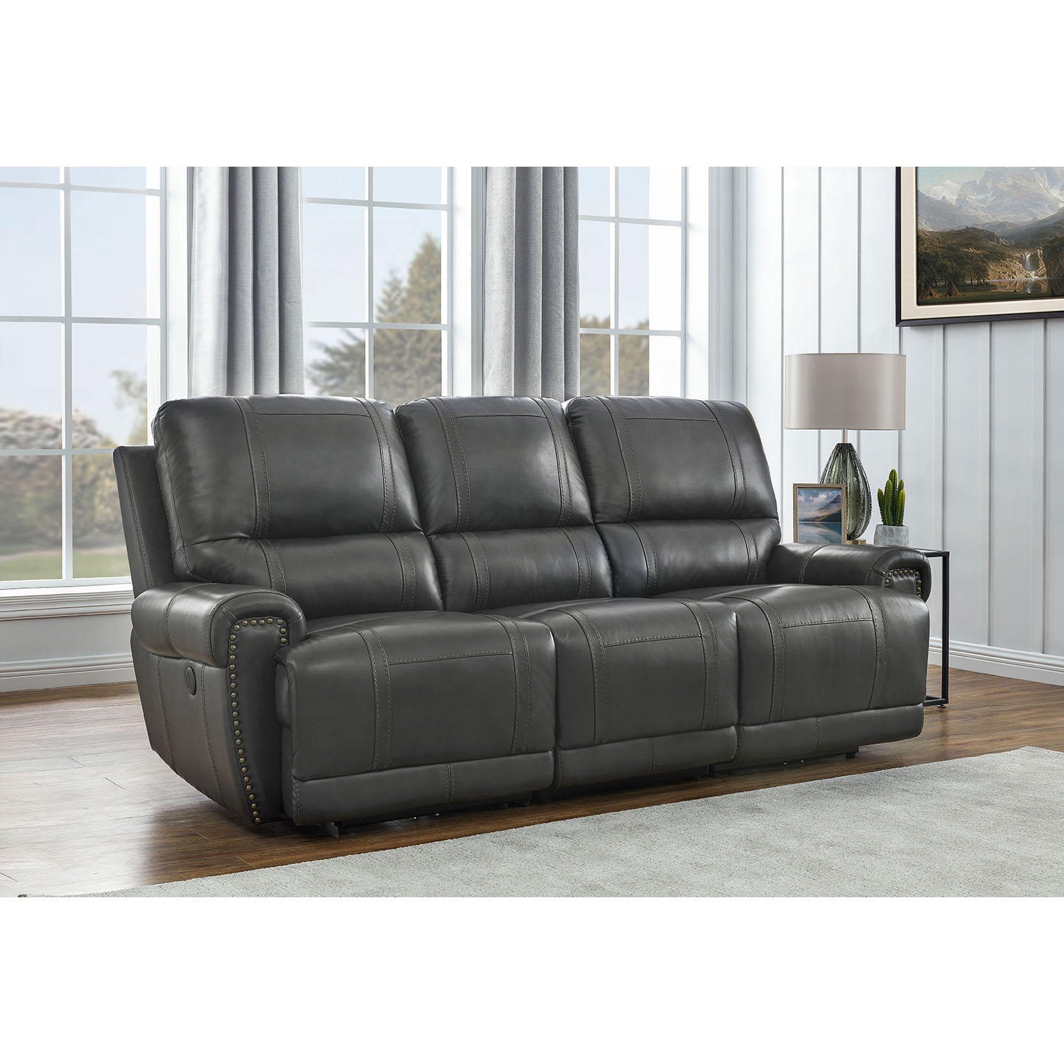 Home Meridian Holstead Top-Grain Leather Power Reclining Sofa (Charcoal)