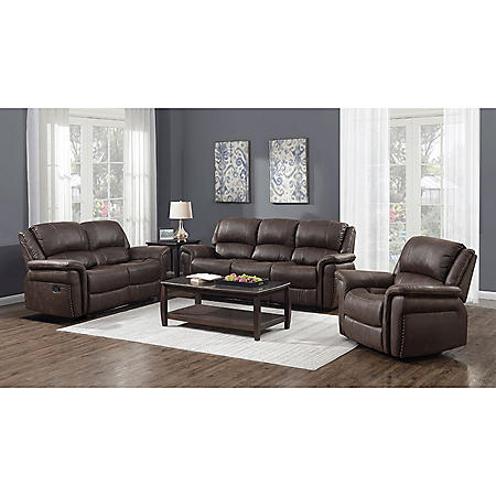 Charles 3-Piece Manual Sofa, Loveseat and Recliner