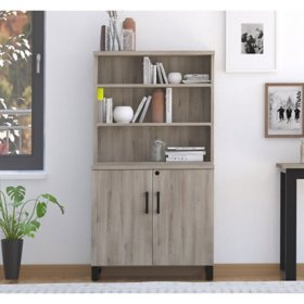 Apex Storage Cabinet & Bookshelf, Weathered Oak