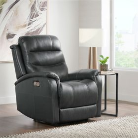 Hathaway Leather Power Recliner with Power Headrest and USB, Charcoal