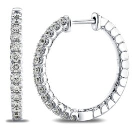 0.70 CT. T.W. 14K White Gold Round Diamond Hoop Earrings I,I1