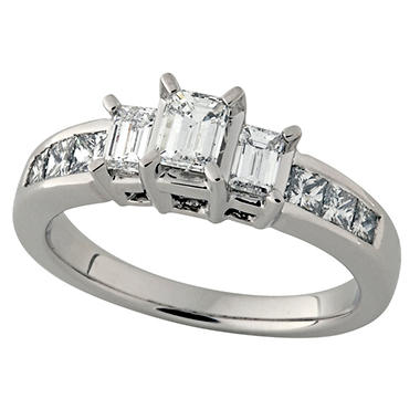 1.00 ct.t.w. Emerald Cut Diamond Three Stone Ring in 14k White Gold (I, SI2)