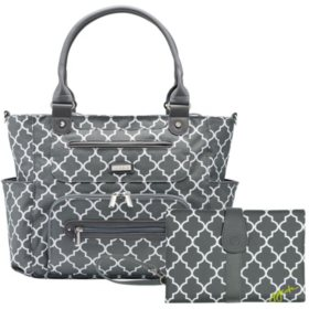 JJ Cole Caprice Diaper Bag with Bonus Matching Changing Clutch, Stone