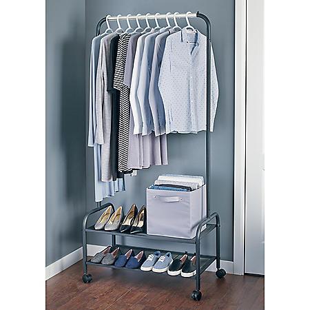 neatfreak Heavy-Duty Steel Garment Rack with Shelves