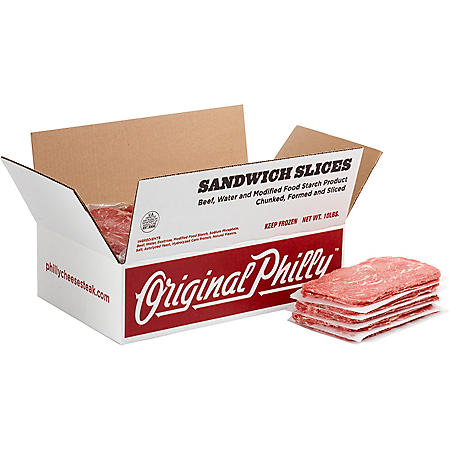 Original Philly Seasoned Beef Sandwich Slices, Frozen (10 lbs.)