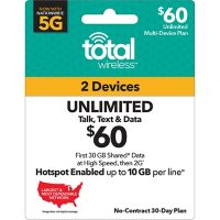 Total Wireless $60 Multi Device Plan (30GB Shared at High Speeds†*) (Email Delivery)