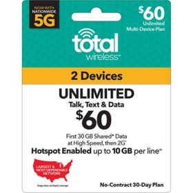 Total Wireless $60 Plan (2-Line) (30GB Shared up to 4G LTE†*)