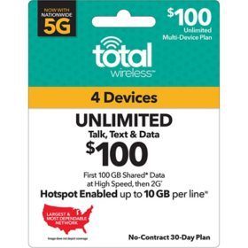 Total Wireless $100 Plan (4-Line) (100GB Shared up to 4G LTE†*)