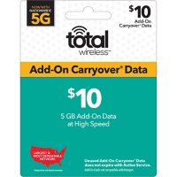 Total Wireless $10 Data Add-On with 5GB Carryover Data (Email Delivery)