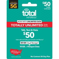 Total Wireless $50 Mega Plan plus 10GB Hotspot (25GB up to High Speeds†*) (Email Delivery)