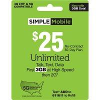 Simple Mobile $25 Plan (3GB at high speeds†*)