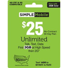 Simple Mobile $25 Plan (3GB up to 4G LTE†*)