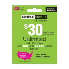 Simple Mobile $30 Plan (2GB up to 4G LTE†*)