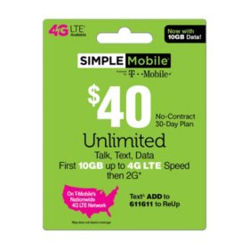 Simple Mobile $40 Plan (10GB up to 4G LTE†*)