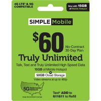 Simple Mobile $60 TRULY UNLIMITED Plan plus 15GB Hotspot