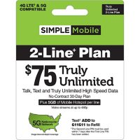 Simple Mobile $75 TRULY UNLIMITED Plan (2-Line)