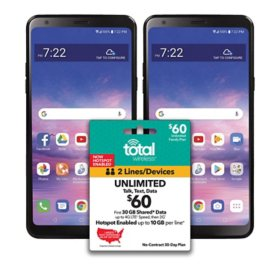 Total Wireless Bundle: 2 Total Wireless LG Stylo 5 Smartphones + $60 Unlimited Plan (2-Line)