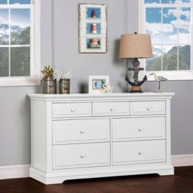Evolur Parker 7-Drawer Double Dresser, White