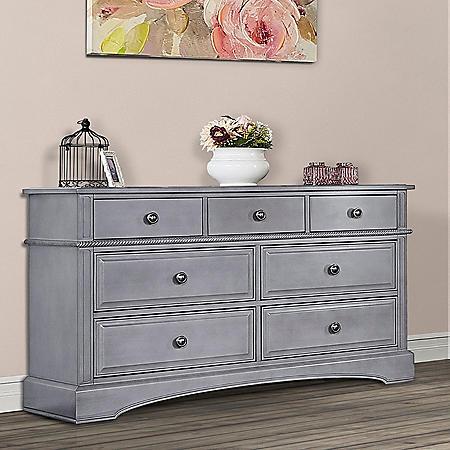 Evolur 7-Drawer Double Dresser, Storm Gray