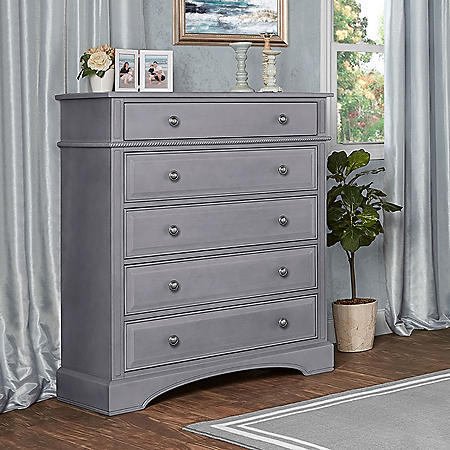 Evolur 5-Drawer Dresser, Storm Gray