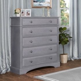 Evolur 5-Drawer Dresser, Storm Gray
