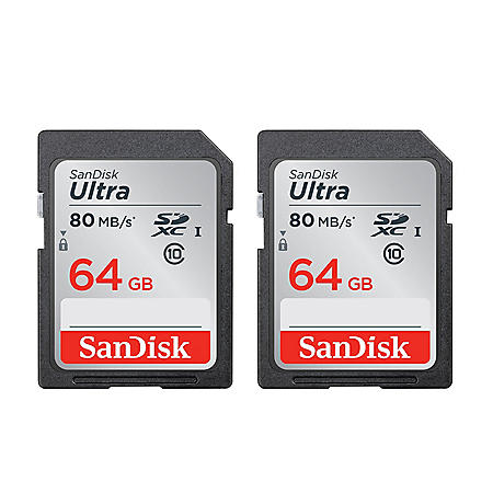 SanDisk Ultra 64GB SDHC UHS-I Class 10 Memory Card (2 pack)