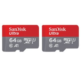 SanDisk 64GB Ultra microSDXC UHS-1 Memory Card 2-Pack with Adapter - 120MB/s, C10, U1, Full HD, A1, Micro SD Card