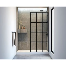 Veronica Bath Screen Walk in Shower Enclosure - Black Matte