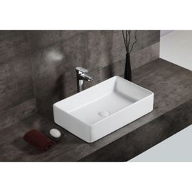 Marley Over the Counter Vessel Ceramic Basin Sink, Glossy White