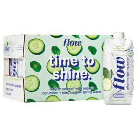 Flow Alkaline Spring Water Organic Cucumber + Mint (500 ml, 12 pk.)