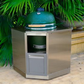 4 Life Outdoor Kitchen Kamado Corner Cabinet - Gray with Stainless Steel