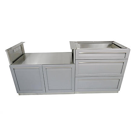 4Life Outdoor 2-Piece Outdoor Kitchen - Stainless Steel Cabinet with Gray Door