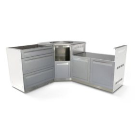 4 Life Outdoor 3-Piece Outdoor Kitchen - Gray Door, Stainless Steel