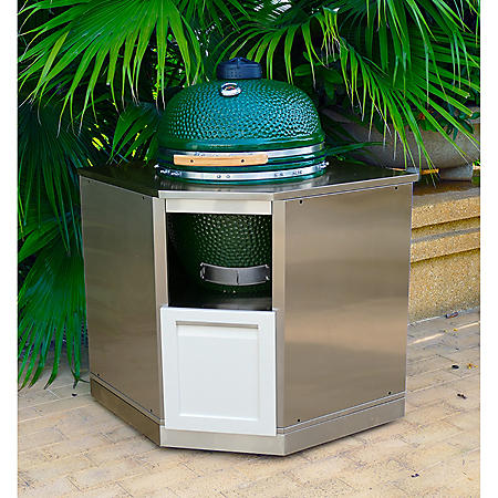 4 Life Outdoor Kitchen Kamado Corner Cabinet - White with Stainless Steel